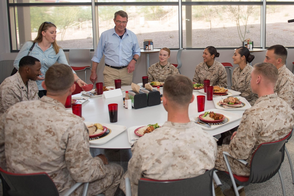 Defense Secretary Ash Carter has lunch with Marines at Marine Corps Air Ground Combat Center Twentynine Palms.
