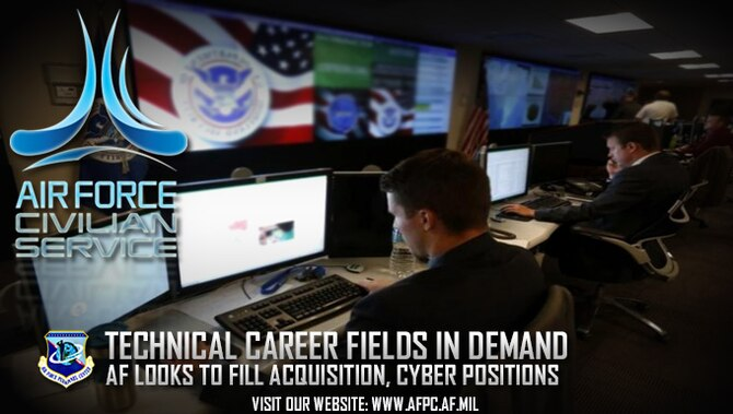 The Air Force hopes to fill about 1,400 cyber and 2,200 acquisition positions Air Force-wide by the end of 2017. The acquisition and cyber career fields make up a significant segment of the technical workforce with most positions considered mission-critical or hard-to-fill. (U. S. Air Force graphic/Staff Sgt. Alexx Pons)