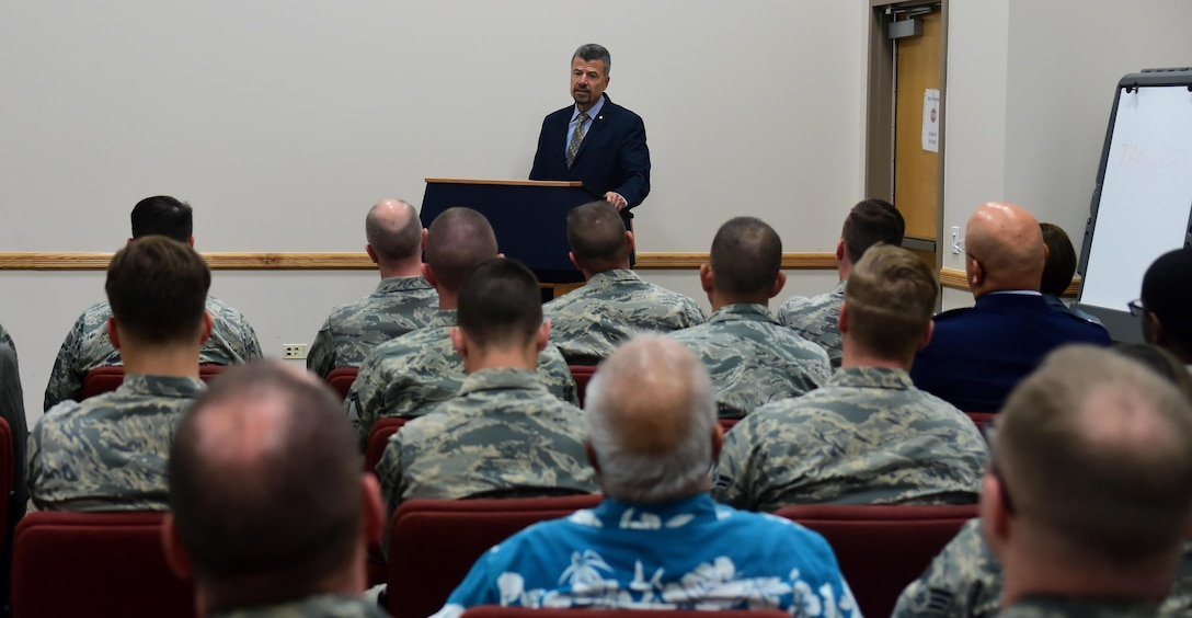 Chief Master Sgt. (ret.) Rene Simard speaks to members of Team Buckley Nov. 10, 2016, at Buckley Air Force Base, Colo. Simard, who previously served as the command chief of Buckley AFB, spoke to service members about both his military and life experiences for Veterans Day. (U.S. Air Force photo by Airman Holden S. Faul/ Released)