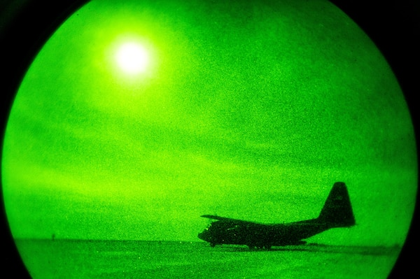 A 746th Expeditionary Airlift Squadron C-130 Hercules prepares to taxi during blackout conditions at Qayyarah West Airfield, Iraq, in support of Combined Joint Task Force - Operation Inherent Resolve, Nov. 12, 2016. The 746th EAS squadron is actively engaged in tactical airlift operations supporting the Mosul offensive. (U.S. Air Force photo by Senior Airman Jordan Castelan)