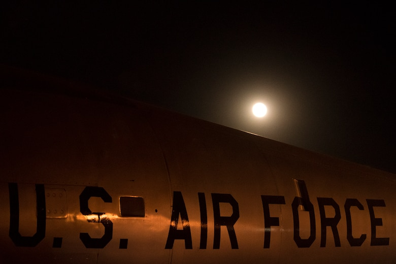 PETERSON AIR FORCE BASE, Colo. – A supermoon rises over an aircraft display at the Peterson Air & Space Museum on Peterson Air Force Base, Colo., Nov. 14, 2016. A supermoon is 14 percent bigger and 30 percent brighter than a normal full moon. (U.S. Air Force photo by Airman 1st Class Dennis Hoffman)