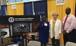 Kimberly Davis (left), a divisional administrative contracting officer at Defense Contract Management Agency Manassas, Virginia, participated in the Department of Defense's Office of Small Business Programs Rotational Excellence Program. She attended the Navy Gold Coast Small Business Opportunity Conference in San Diego, California, Aug. 23-24, along with Janice Buffler, OSBP's associate director for Subcontracting Policy, and Anthony Pugh, a defense contractor. (Photo courtesy of Kimberly Davis)
