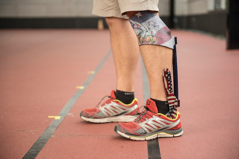Wayne Strube, a former Air Force security forces patrolman, wears a customized Ideo brace that helps him rehab at the Center for the Intrepid at Fort Sam Houston, Texas, Sept. 13, 2016.  Strube currently serves military service members as the CFI physical therapist in charge of the Return to Run program at San Antonio Medical Center, Texas. The CFI Return to Run program is currently servicing active-duty service members and some civilians that have been injured in accidents. (U.S. Air Force photo/Tech Sgt. Vernon Young Jr.)