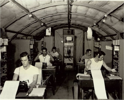 Morse operators conduct intercept activities at Detachment 4 of the 1st Radio Squadron Mobile in 1953.
