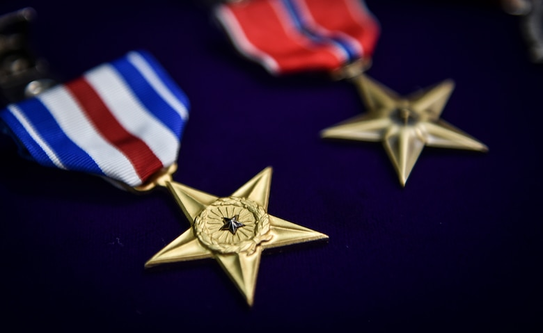 The 73rd Silver Star Medal awarded to an Airman since 9/11 lays on a table before a presentation ceremony at Joint Base Lewis-McChord, Wash., Nov. 16, 2016. The Silver Star Medal is the third-highest medal awarded for gallantry against an armed enemy of the U.S. in combat and was awarded to Staff Sgt. Keaton Thiem, a combat controller with the 22nd Special Tactics Squadron, for using air power to ensure the safety of his 100-plus man SOF element during a 14-hour firefight with no regard for his own personal safety, while deployed with U.S. Army Special Operations Forces in Afghanistan.(U.S. Air Force photo by Senior Airman Ryan Conroy)
