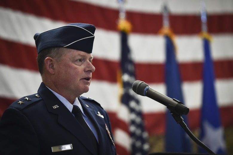 Maj. Gen. Eugene Haase, vice commander of Air Force Special Operations Command, speaks during a Silver Star Medal presentation ceremony for Staff Sgt. Keaton Thiem, a combat controller, at Joint Base Lewis-McChord, Wash., Nov. 16, 2016. Thiem used air power to ensure the safety of his 100-plus man SOF element during a 14-hour firefight with no regard for his own personal safety, while deployed with U.S. Army Special Operations Forces in Afghanistan. (U.S. Air Force photo by Senior Airman Ryan Conroy)