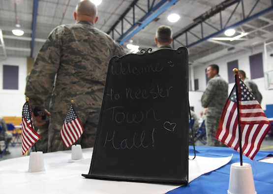 A welcome sign sits on display during a Town Hall meeting and Children's Carnival event at the Youth Center Nov. 15, 2016, on Keesler Air Force Base, Miss. The event included a Q-and-A session with base leadership, updates from the Keesler Medical Center, family housing and 81st Force Support Squadron, as well as dinner and entertainment for children of those who attended. (U.S. Air Force photo by Kemberly Groue/Released)