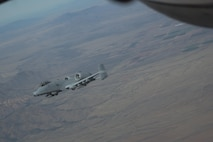 An A-10C Thunderbolt II assigned to the 354th Fighter Squadron, Davis-Monthan Air Force Base, Ariz., flies over southeastern Ariz., during the Cactus Flag exercise Nov. 15. 2016. The exercise assessed the 355th Fighter Wing's ability to tactically integrate in real world operations. (U.S. Air Force photo by Senior Airman Betty R. Chevalier)