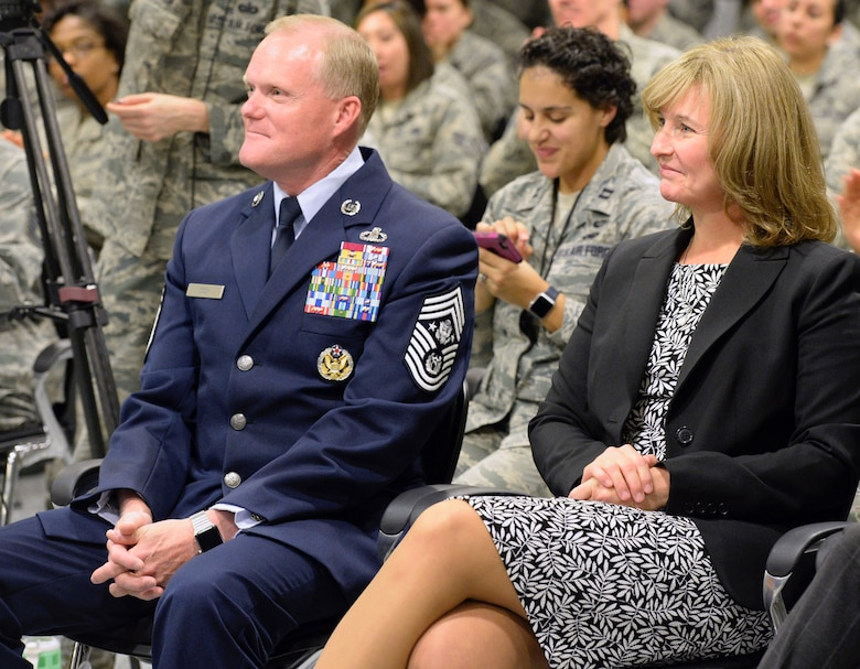Chief Master Sgt. of the Air Force James A. Cody sits with wife, retired Chief Master Sgt. Athena Cody, after Air Force senior leaders announced Chief Master Sgt. Kaleth O. Wright  as the 18th CMSAF at the Pentagon Nov. 16, 2016. (U.S. Air Force photo/Staff Sgt. Alyssa C. Gibson)