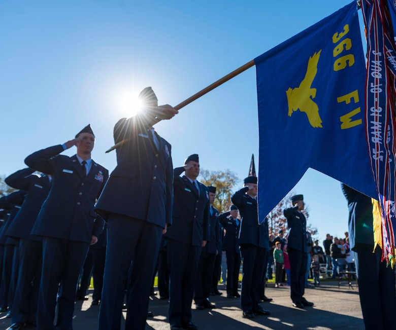 American Legion members post before performing a 21 gun salute at the annual Veterans day ceremony at Mountain Home, Idaho, Nov. 11, 2016. The ceremony honors veterans both past and present for their sacrifices for their country. (U.S. Air Force photo by Senior Airman Connor J. Marth/Released)