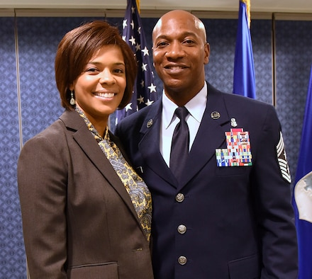 Chief Master Sgt. Kaleth O. Wright, left, stands with wife, Tonya, after being named the 18th Chief Master Sergeant of the Air Force at the Pentagon Nov. 16, 2016. As the CMSAF, Wright will represent the highest enlisted level of leadership, and serve as personal adviser to the Air ForceÕs Secretary and Chief of Staff on enlisted issues. (U.S. Air Force photo/Staff Sgt. Alyssa C. Gibson)
