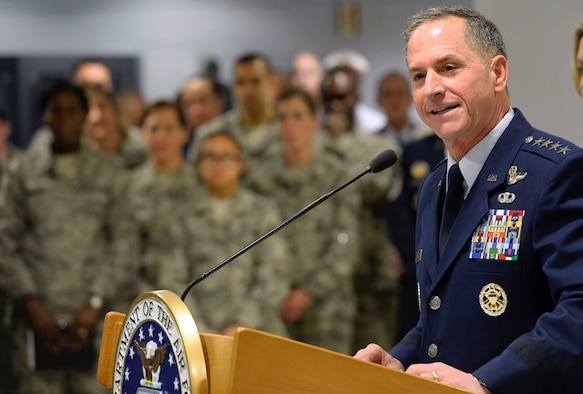 Air Force Chief of Staff Gen. David L. Goldfein announces Chief Master Sgt. Kaleth O. Wright as the 18th Chief Master Sergeant of the Air Force at the Pentagon Nov. 16, 2016. Wright will replace current Chief Master Sgt. of the Air Force James A. Cody as the Air Force's senior enlisted member after Cody retires in early 2017.  (U.S. Air Force photo/Staff Sgt. Alyssa C. Gibson)
