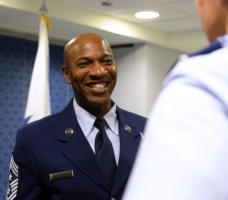 Chief Master Sgt. Kaleth O. Wright greets Airmen after being named the 18th Chief Master Sergeant of the Air Force at the Pentagon Nov. 16, 2016. As the CMSAF, Wright will represent the highest enlisted level of leadership, and serve as personal adviser to the Air Force's Secretary and Chief of Staff on enlisted issues. (U.S. Air Force photo/Staff Sgt. Alyssa C. Gibson)