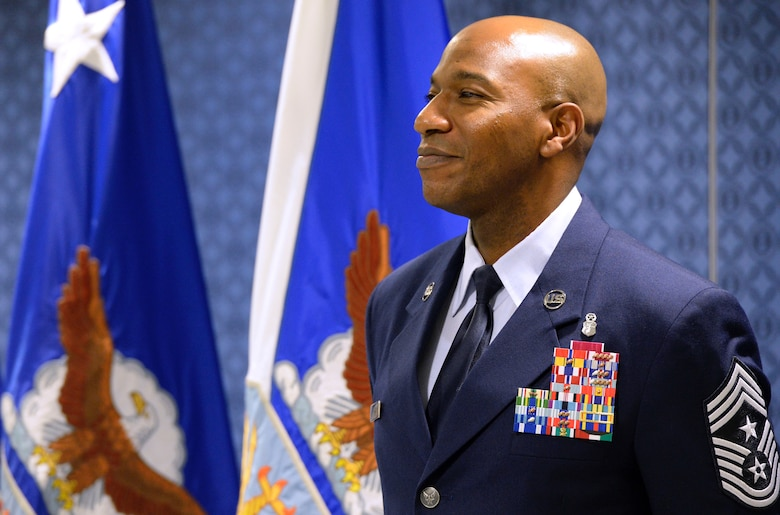 Chief Master Sgt. Kaleth O. Wright  stands after being named the 18th Chief Master Sergeant of the Air Force at the Pentagon Nov. 16, 2016. As the CMSAF, Wright will represent the highest enlisted level of leadership, and serve as personal adviser to the Air Force's Secretary and Chief of Staff on enlisted issues. (U.S. Air Force photo/Staff Sgt. Alyssa C. Gibson)