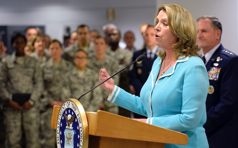 Air Force Secretary Deborah Lee James speaks during the announcement of the 18th Chief Master Sergeant of the Air Force at the Pentagon Nov. 16, 2016. Air Force Chief of Staff Gen. David L. Goldfein named Kaleth O. Wright as the Air Force's next senior enlisted Airman. (U.S. Air Force photo/Staff Sgt. Alyssa C. Gibson)