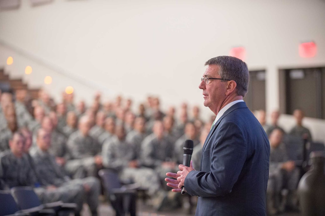 Defense Secretary Ash Carter speaks to Air Force trainees during a visit to Joint Base San Antonio-Lackland, Texas.