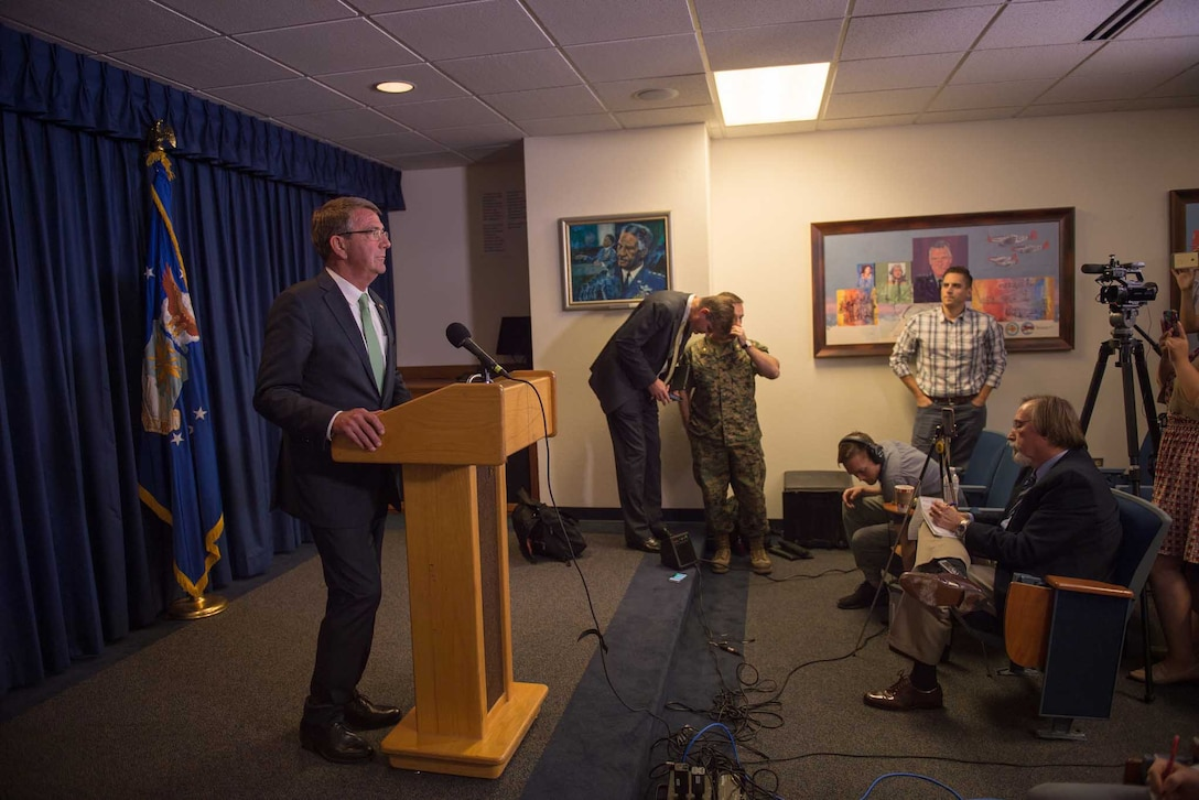 Defense Secretary Ash Carter speaks to the press during a visit to Joint Base San Antonio-Randolph, Texas.