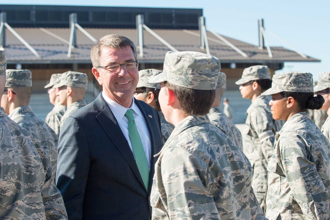 Defense Secretary Ash Carter speaks with Air Force trainees during a visit to Joint Base San Antonio-Lackland, Texas.