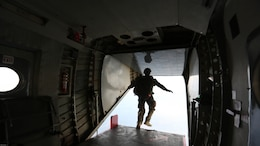 A Marine from 2nd Reconnaissance Battalion exits an aircraft at Skydive Paraclete XP in Raeford, N.C., Nov. 3, 2016. The unit participated in jump training as part of a Tandem Offset Resupply Delivery System Course, which certifies Marines to jump with personnel and equipment.