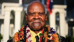 Dr. Ernest James Harris, Jr. smiles after receiving the Congressional Gold Medal during a ceremony in Honolulu Nov. 12, 2016. Harris was awarded his Congressional Gold Medal for his service as a Montford Point Marine.
