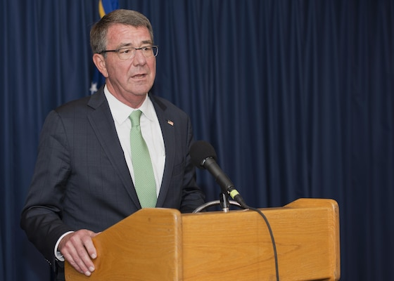 Secretary of Defense Ash Carter addresses the media at Joint Base San Antonio-Randolph Nov. 16, 2016. Carter's visit included meeting with Air Force basic military training instructors and trainees at JBSA-Lackland, wounded and ill service members at Brooke Army Medical Center on JBSA-Fort Sam Houston and took an orientation flight with instructor pilots in a T-1A Jayhawk at JBSA-Randolph. (U.S. Air Force photo by Airman 1st Class Lauren Ely)