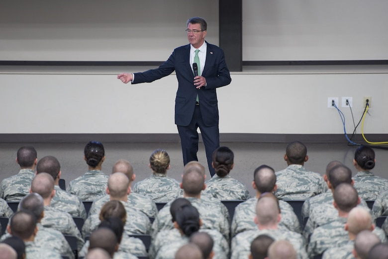 Defense Secretary Ash Carter speaks to U.S. Air Force basic military training trainees at the Pfingston Reception Center, Joint Base San Antonio-Lackland, Nov. 16, 2016.  Carter is on a four-day trip focusing on the readiness of the nation's force and the effectiveness of the warfighter's training and equipment.  (U.S. Air Force photo by Sean M. Worrell/Not Released)