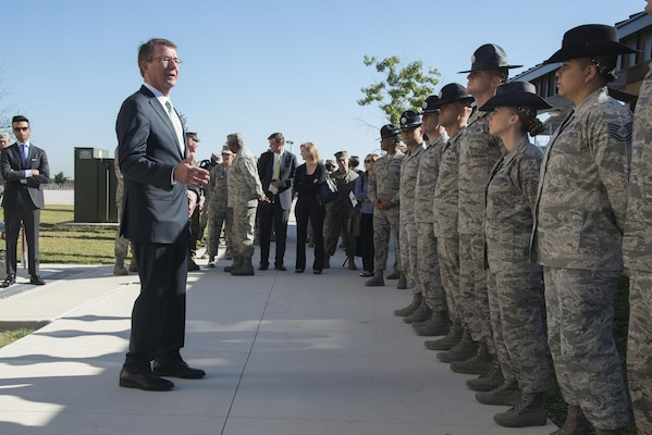 Defense Secretary Ash Carter speaks to U.S. Air Force basic military training instructors during his visit to Joint Base San Antonio-Lackland, Nov. 16, 2016.  Carter is on a four-day trip focusing on the readiness of the nation's force and the effectiveness of the warfighter's training and equipment.  (U.S. Air Force photo by Sean M. Worrell/Not Released)