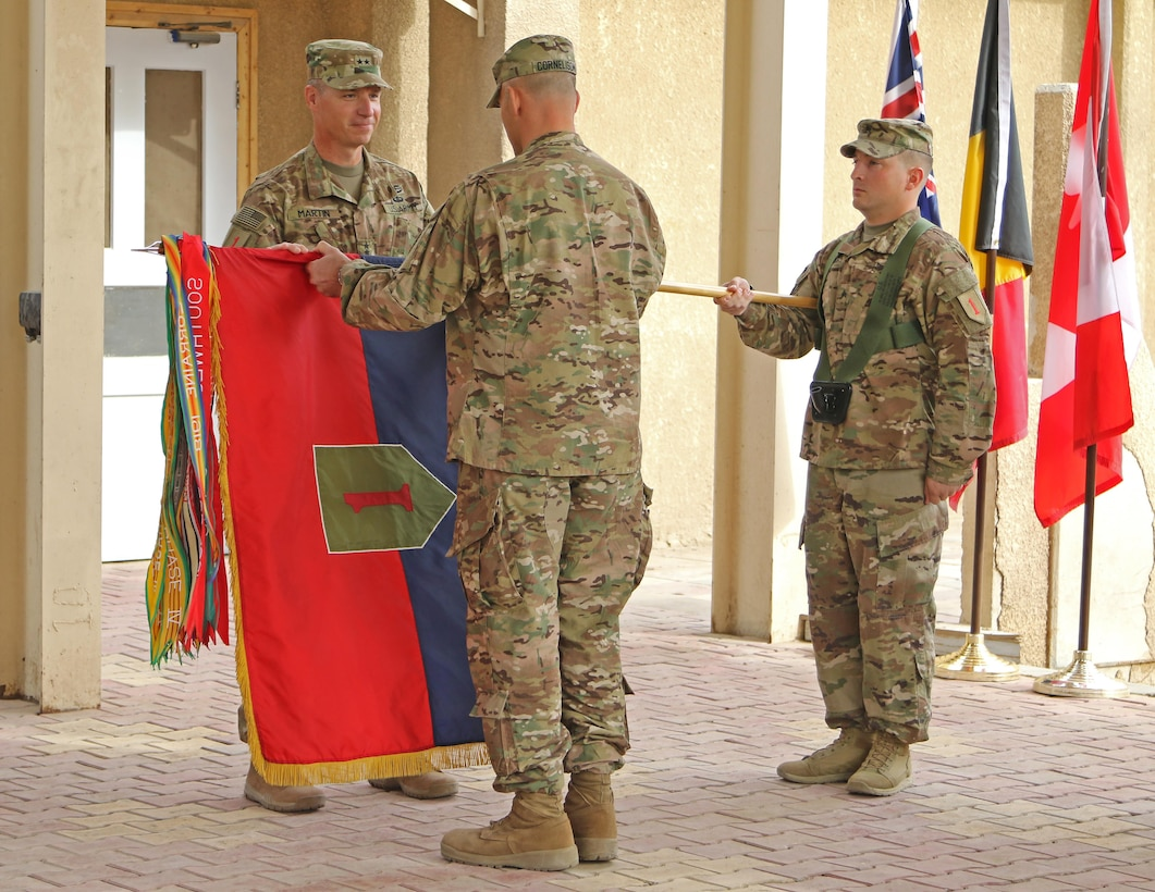 BAGHDAD - The 1st Infantry Division assumed command of the Combined Joint Forces Land Component Command - Operation Inherent Resolve from the 101st Airborne Division (Air Assault) during a Transfer of Authority ceremony today at Forward Operating Base, Union III, Iraq.