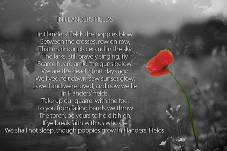 The use of the poppy was inspired by a poem called Flanders Fields, which was written by Canadian doctor, Lt. Col. John McCrae, after losing a friend during WWI. Today, the use of artificial poppies for wreathes or worn as pins is most common in the UK, New Zealand and Canada. (U.S. Air Force graphic/Senior Airman William Blankenship)