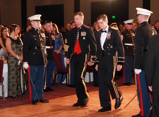 U.S. Army General Joseph L. Votel, commander, U.S. Central Command, and Lieutenant General William D. Beydler, commander, U.S. Marine Corps Forces Central Command, march into the 241st Marines Birthday Ball ceremony, in downtown Tampa, Fla., Nov. 12.  The evening's guest of honor, General Votel, spoke to more than 900 servicemembers and guests thanking the Marines for their warrior ethos and service to CENTCOM and the region.