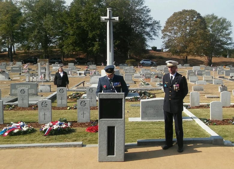 Royal Air Force Group Captain Shaun Harvey and French Air Force Lieutenant Colonel Fabrice Imbo open the wreath-laying ceremony Nov. 13, 2016 at Oakwood Cemetery, Montgomery, Alabama.  In the cemetery are buried 78 British and 20 French Airmen killed in training accidents in the Southeast U.S. from June 1941 to November 1945. (Photo courtesy of Dr. Robert Kane, Air University Director of History)
