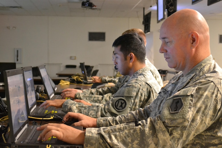 Students enrolled in the 4960th Multi-Functional Training Brigade (Total Army School System) conducted scenerio-based leadership training on a virtual battlespace system during a new pilot Army Medical Department Advanced Leader Course Phase II held at Fort Shafter Flats, Hawaii, October 30 - November 12, 2016. The system is a flexible simulation training solution for scenario training and mission rehearsal.