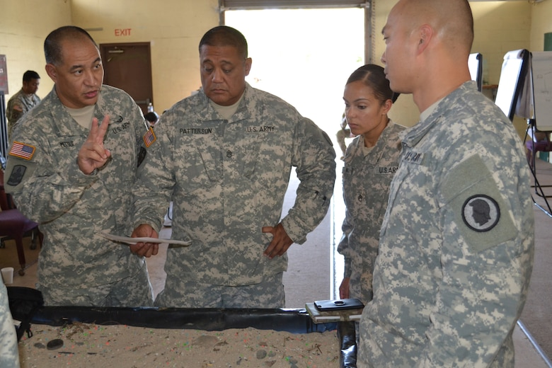 Sgt. 1st Class Matthew Mitsui, an instructor for the 4960th Multi-Functional Training Brigade pilot Army Medical Department Advanced Leader Course Phase II, explains a training exercise to students. The course was held at Fort Shafter Flats, Hawaii, October 30 - November 12, 2016.