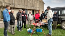 """ERDC-CRREL Senior Research Engineer Michael """"Mike"""" Walsh provides instruction on how to sample and how to collect samples before the two-day field exercise at the Cranfield Ordnance Test and Evaluation Centre, Wiltshire, England."""