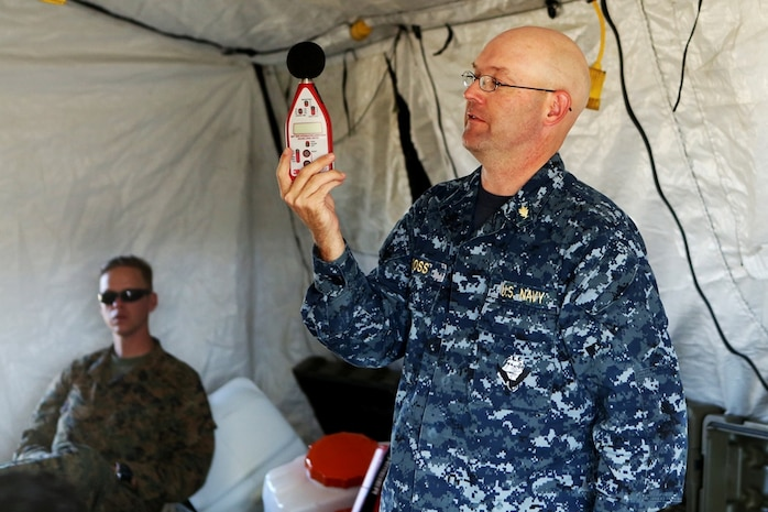 U.S. Navy Commander Alan Ross leads a class about the levels of harmful sound to ears by using a M3 Sound Detector during Preventative Medicine Exercise 2016 at Camp Pendleton, Calif., Nov. 10, 2016. Being able to detect sound helps technicians distinguish when a situation may require hearing protection due to excessive and potentially harmful noise. Ross is an audiologist with the Navy Environmental Preventative Medicine Unit No. 5. (U.S. Marine Corps photo by Lance Cpl. Joseph Sorci)