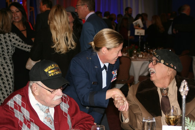 Brig. Gen. Christine Burckle, Utah Air National Guard Commander, visits with 