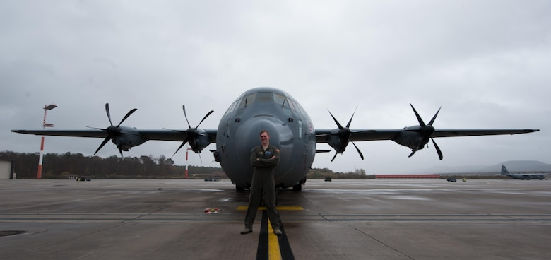 Airman 1st Class Patrick Stone, 37th Airlift Squadron loadmaster, poses in front of a C-130J Super Hercules at Ramstein Air Base, Germany, Nov. 17, 2016. Stone, along with wingman Staff Sgt. James Gaston, 37th AS loadmaster, worked together on creating a new repair program within their unit, which salvages usable parts from non-functional headsets to create complete units. In the first iteration of their program, Gaston and Stone were able to assemble nine fully-functional headsets from individual components, thus reducing the number of new headsets needing to be purchased. Together, they saved the Air Force $8,100. (U.S. Air Force photo by Airman 1st Class Lane T. Plummer)