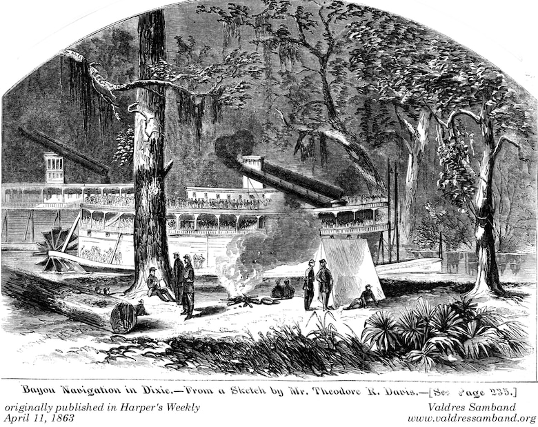 Engraving: Their smokestacks decapitated by low hanging tree limbs and thick foliage in Steele's Bayou north of Vicksburg, Union Steamers Eagle and Silver Wave were featured in this engraving on the cover of Harper's Weekly on April 11, 1863.