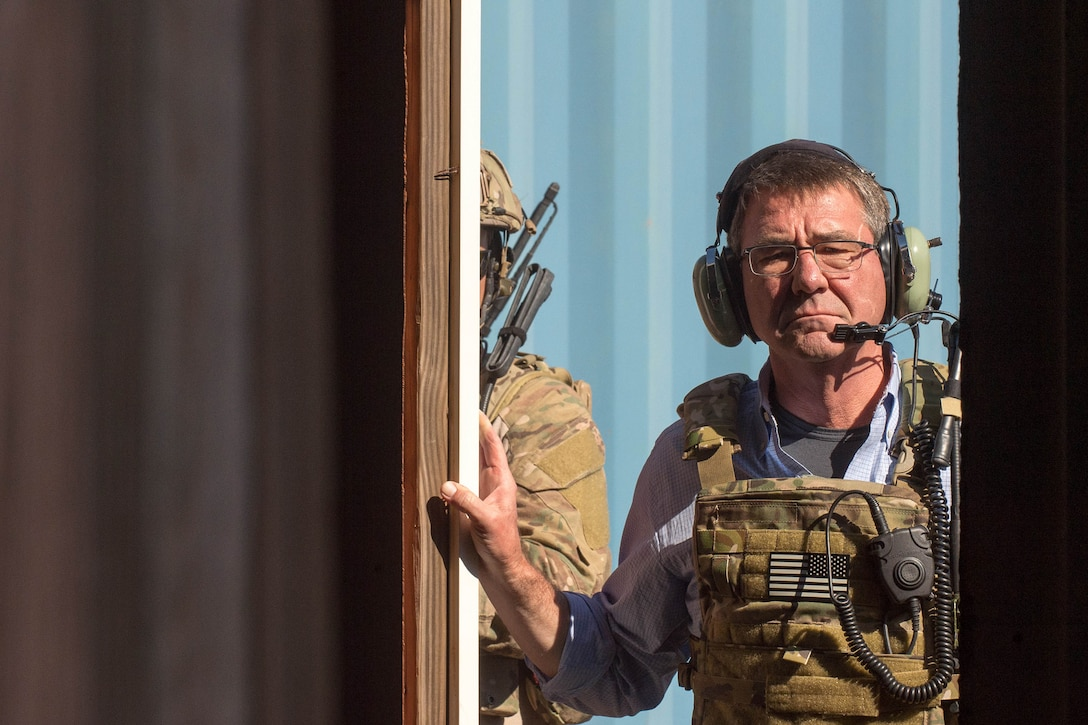 Defense Secretary Ash Carter observes a mission assault and call-for-fire operation with Air Force special operators.