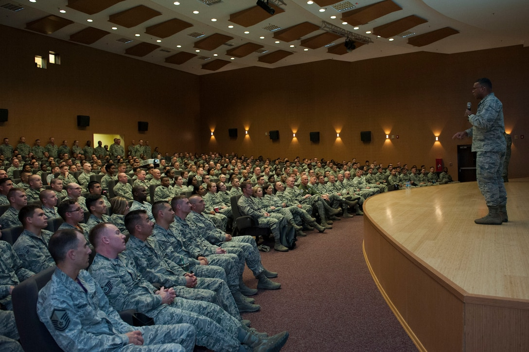 Lt. Gen. Richard M. Clark, 3rd Air Force commander, speaks to 39th Air Base Wing Airmen Nov. 18, 2016, at Incirlik Air Base, Turkey. Clark discussed the importance of the mission here at Incirlik. (U.S. Air Force photo by Tech. Sgt. Caleb Pierce)