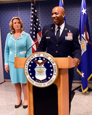 Chief Master Sgt. Kaleth O. Wright speaks after being named the 18th chief master sergeant of the Air Force at the Pentagon Nov. 16, 2016. As the CMSAF, Wright will represent the highest enlisted level of leadership, and serve as personal adviser to the Air Force's secretary and chief of staff on enlisted issues. (U.S. Air Force photo/Staff Sgt. Alyssa C. Gibson)
