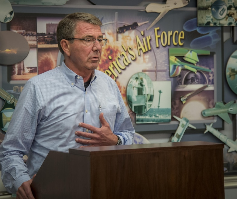 Secretary of Defense Ash Carter speaks with media about his visit to the local Air Force bases Nov. 17 at Eglin Air Force Base, Fla. Nov. 17.  Carter visited numerous locations around Eglin and Hurlburt Field during his day tour of the local area. (U.S. Air Force photo/Samuel King Jr.)