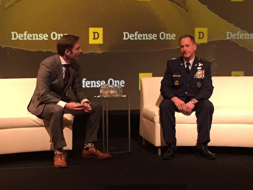 Defense One's Marcus Weisgerber, left, speaks with Air Force Chief of Staff Gen. David Goldfein about multidomain warfare at the Defense One Summit in Washington, Nov. 17, 2016. DoD photo by Jim Garamone