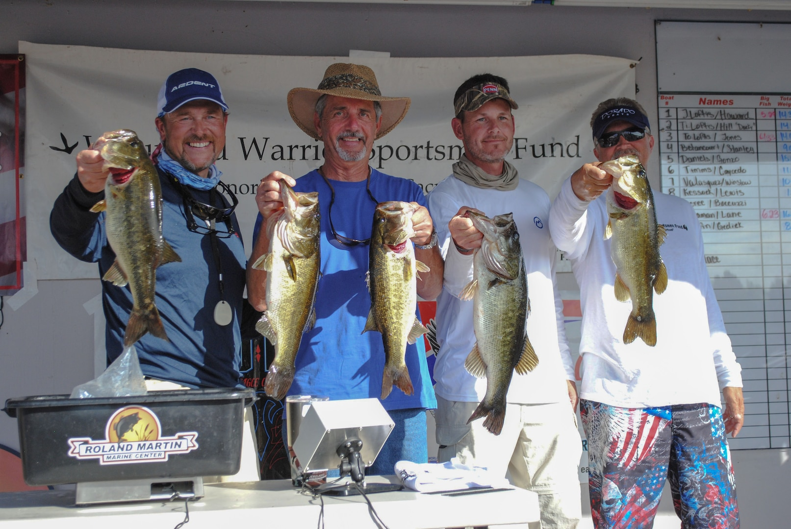 CLEWISTON, Fla. (Nov. 6, 2016) Participants weigh their catch at the Operation Bass Warrior fishing tournament. U.S. Central Command (CENTCOM) communications branch (J6) chief, Thomas Loftis (far right), a former Clewiston resident and retired Marine, organized the event with a network of friends and family as a way of giving back to those who served and sacrificed. (Courtesy photo)