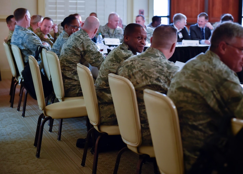 U.S. Air Force General Darren McDew, U.S. Transportation Command (USTRANSCOM) commander, convenes the USTRANSCOM Component Commanders conference here, Nov. 15, 2016. McDew and other key leaders from USTRANSCOM met to discuss common themes across command.