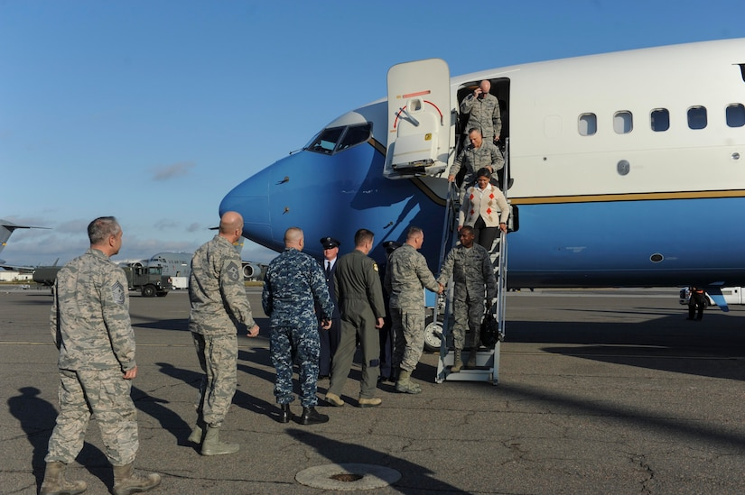 U.S. Air Force General Darren McDew, U.S. Transportation Command (USTRANSCOM) commander, is greeted by Joint Base Charleston leadership here, Nov. 14, 2016. McDew and other leaders from USTRANSCOM met to discuss common themes across the command.
