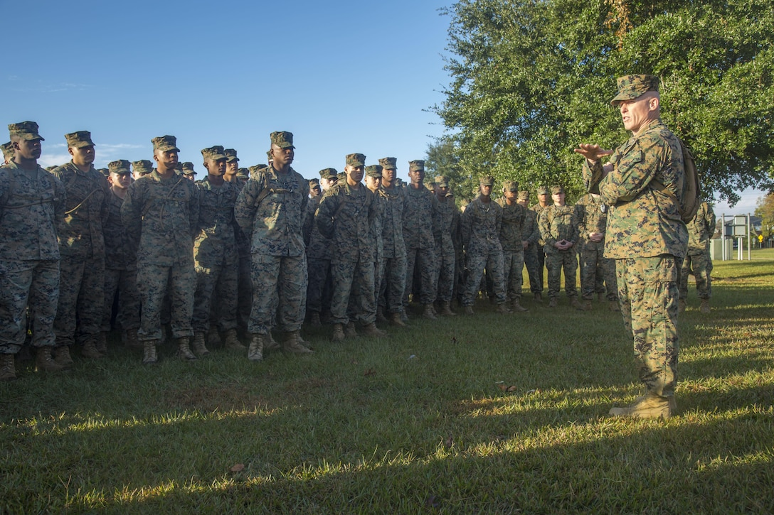 Marine Corps Brig. Gen.Thomas Wiedley, commanding general, Marine Corps Installations East, Marine Corps Base Camp Lejeune (MCIEAST, MCB CAMLEJ), gives his remarks during a battalion formation, Camp Lejeune, Nov. 14, 2016. Headquarters and Support Battalion, MCIEAST, MCB CAMLEJ, conducted a 7.5 mile motivational and educational hike in recognition of the 75th anniversary of Camp Lejeune.