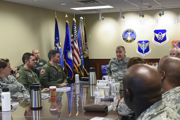 "U.S. Air Force Maj. Gen. Thomas Bussiere, 8th Air Force commander, speaks to Airmen assigned to various Air Force Global Strike Command bases during a Bomber Corps Development Course at Barksdale Air Force Base, La., Nov. 17, 2016. The Airmen in attendance came to Barksdale to gain face-to-face knowledge about 8th Air Force history, heritage, culture and more. The AFGSC and 8th Air Force sponsored course encourages flight and squadron leaders to take the information back to their coworkers to help advocate a better understanding of 'why' AFGSC relies on highly trained Airmen, and how they contribute to 8th Air Force's ""big picture."" (U.S. Air Force photo/Airman Alexis Schultz)"
