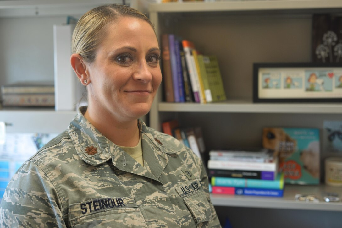 Maj. Meghan Steinour poses for a photo in her office at the 9th Medical Group clinic on Beale Air Force Base, Novemeber 9, 2016. (U.S. Air Force photo/Senior Airman Benjamin Bugenig)