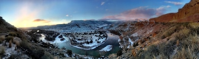 ABIQUIU DAM, N.M. – A panorama view of the Rio Chama below the dam, Jan. 9, 2016. Photo by Austin Kuhlman. This 2016 Photo Drive entry tied for second place, based on employee voting.